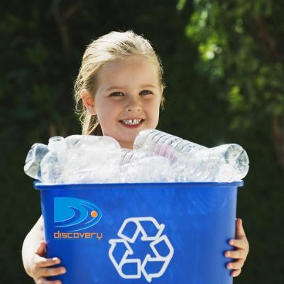 Little Girl Holding Recycling Bin